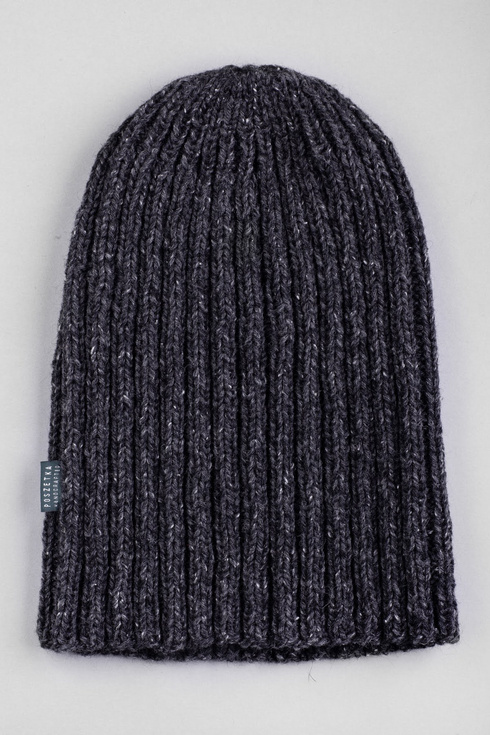 BEIGE Hand-knit gray yarn beanie