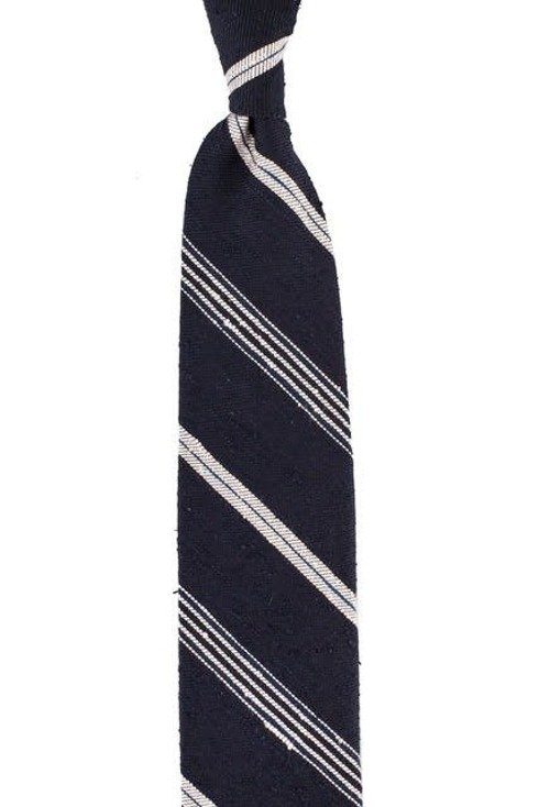 BLUE NAVY SHANTUNG TIE REGIMENTAL