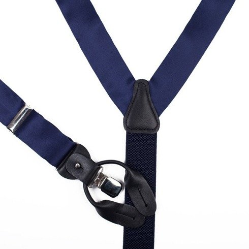 BRACES 3,5 CM CLIPS & BUTTONS NAVY SATIN SILK