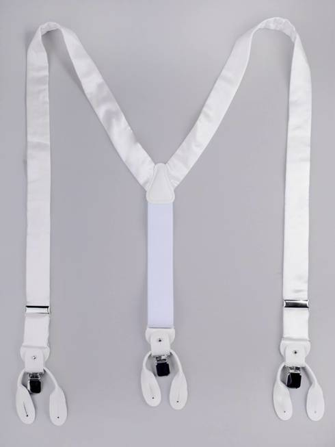 BRACES 3,5 CM CLIPS & BUTTONS WHITE SATIN SILK
