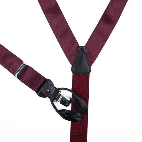 BRACES 3,5 CM CLIPS & BUTTONS burgundy SATIN SILK