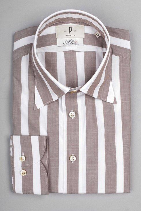 Beige stripped  shirt Albini
