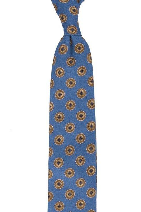 Blue printed wool untipped tie