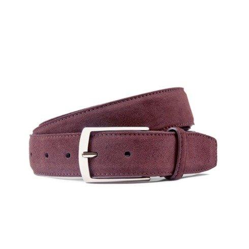 Burgundy suede leather belt