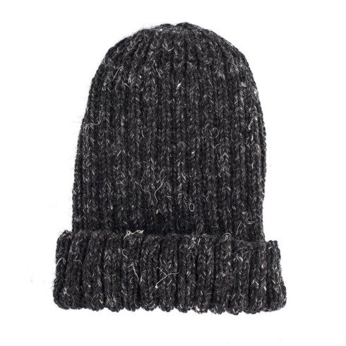 CHARCOAL Hand-knit gray beanie