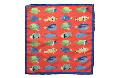 Cotton-Silk Pocket Square Fishes