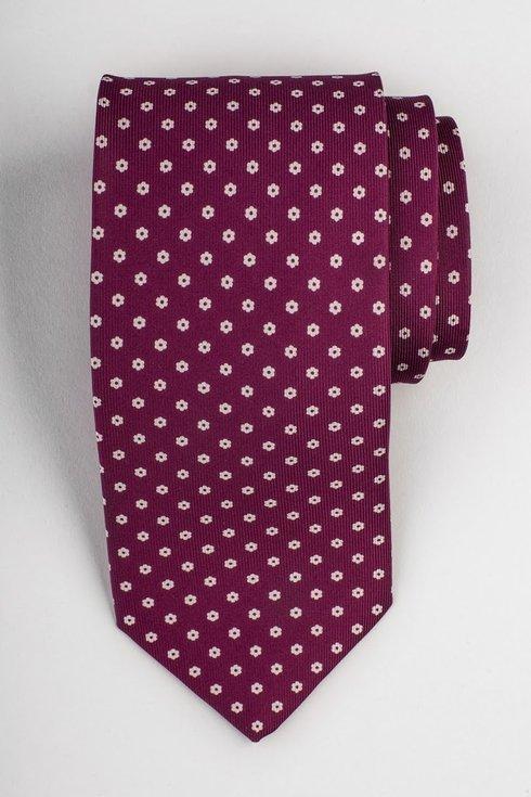 Fuchsia printed three fold silk tie
