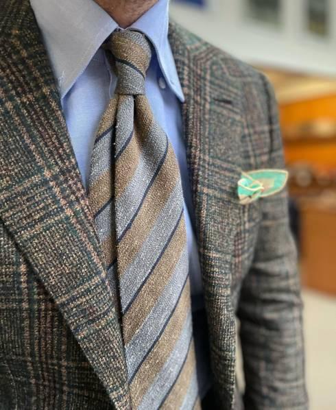 Grey & brown wool shantung regimental tie