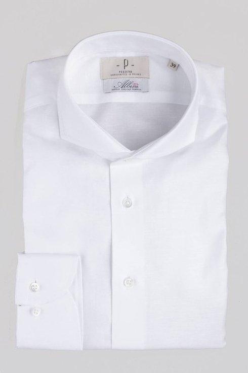 Linen - cotton shirt with spread collar Albini