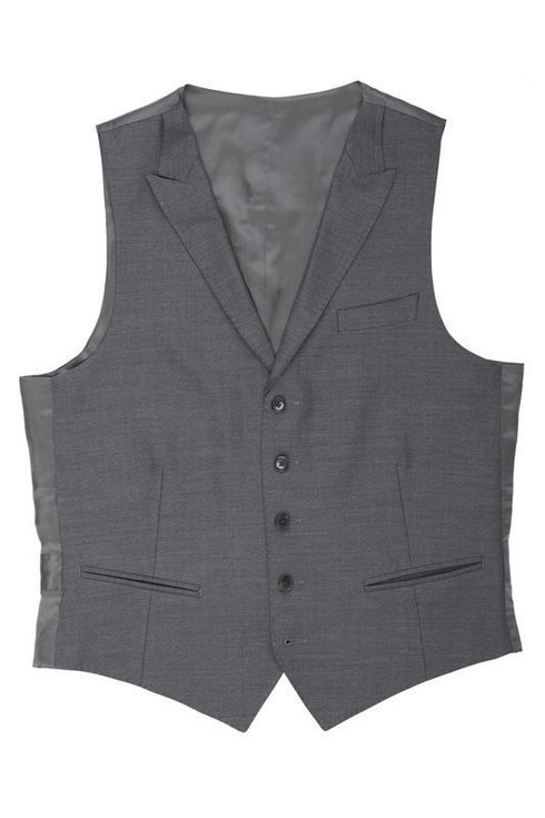 Medium grey worsted wool waistcoat with peak lapels