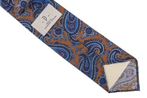 Mustard Paisley woolen untipped tie