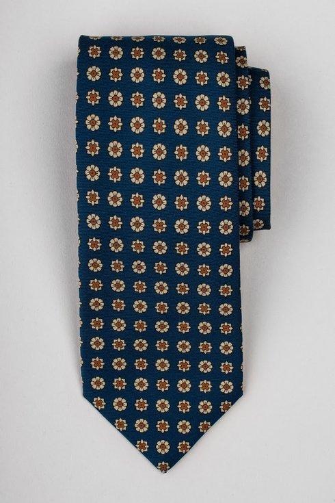 Navy blue printed six fold silk tie