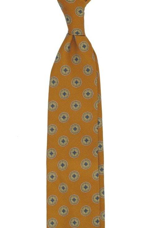 Orange printed wool untipped tie
