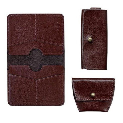 Pocket wallet + coin wallet + key case SET