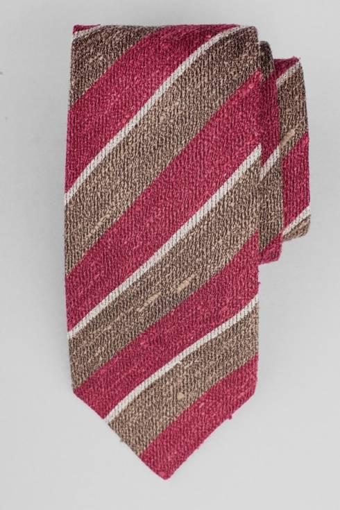 Red & brown wool shantung regimental tie