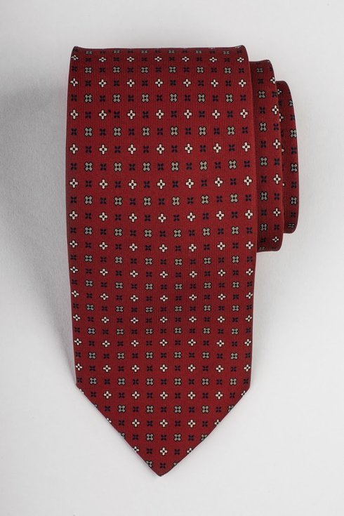 Red printed three fold silk tie