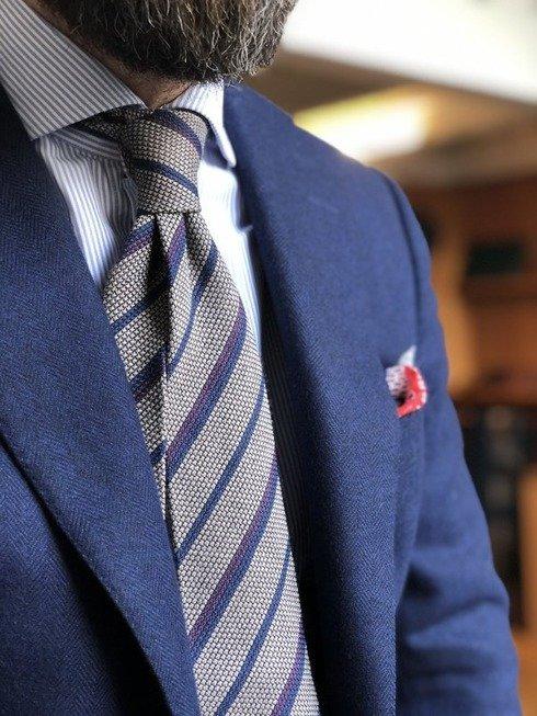 Regimental woolen grenadine tie