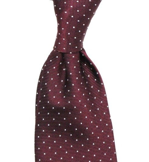 SIX FOLD SILK BORDEAUX  POLKA DOTS TIE