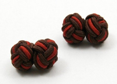 Silk knots brown and rust red