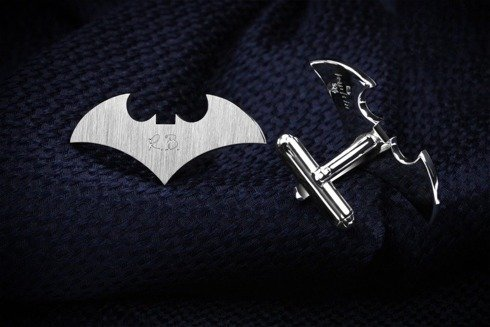 Silver Cuff Links Bat