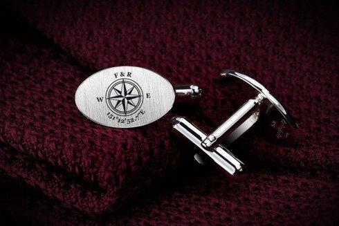 Silver Cuff Links Compass