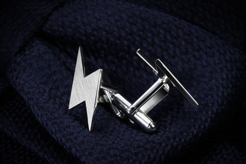 Silver Cuff Links Lightning