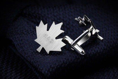 Silver Cuff Links Maple Leaf