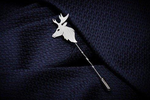 Silver Lapel pin deer