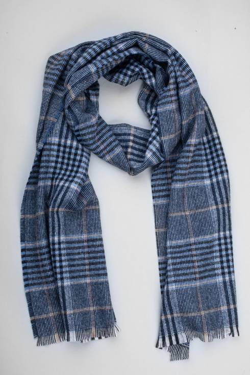 Tones of navy cashmere checked scarf