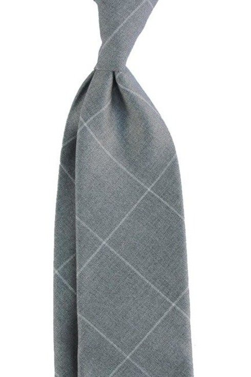 UNTIPPED WOOLEN  TIE wide check