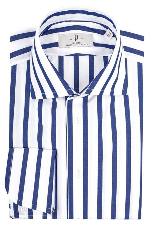 White & navy bengal shirt with semi-spread collar