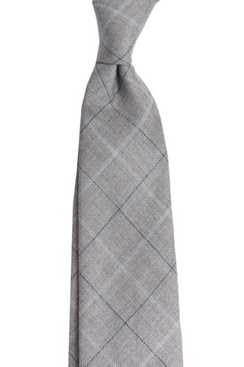 Wool & Linen untipped checked tie
