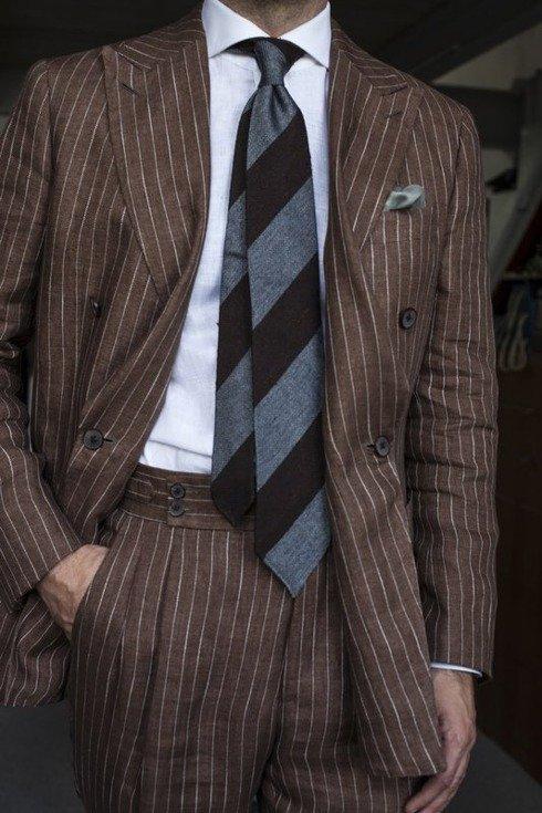 brown and grey shantung and grenadine melange untipped tie