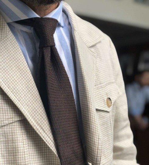 brown grenadine shantung untipped tie