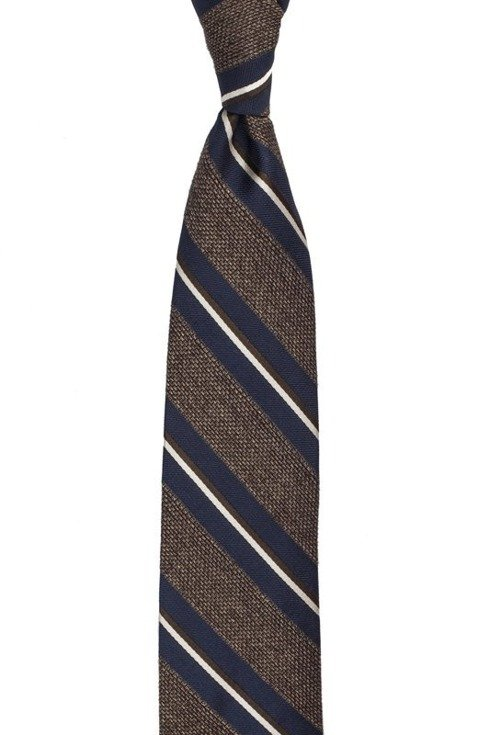 brown melange grenadine stripped tie
