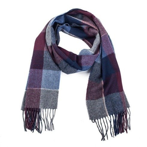 burgundy & navy checked woolen scarf