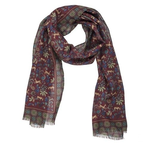 burgundy printed scarf muslin wool and silk