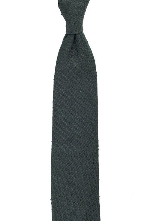 green grenadine shantung untipped tie