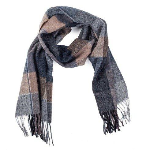 grey & beige checked woolen scarf