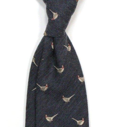 grey tie silk&wool PHEASANT