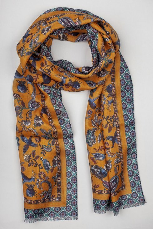 honey printed scarf muslin wool and silk