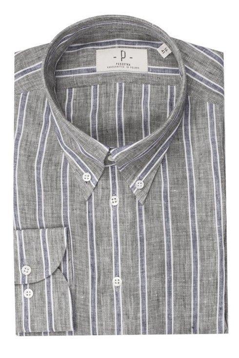 linen cotton BD wide bengal striped shirt