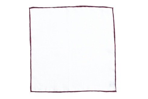 linen pocket square with burgundy border
