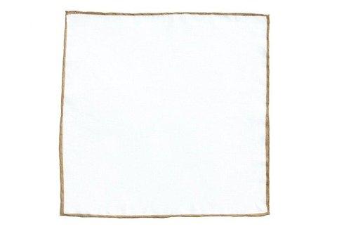 linen pocket square with honey border