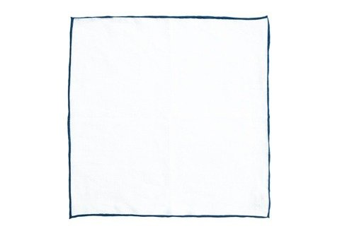 linen pocket square with navy border