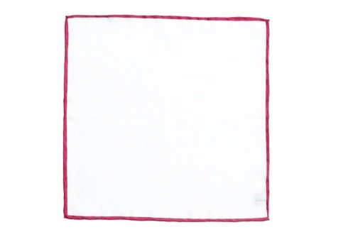 linen pocket square with red border