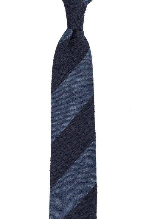 navy and blue shantung and grenadine melange untipped tie