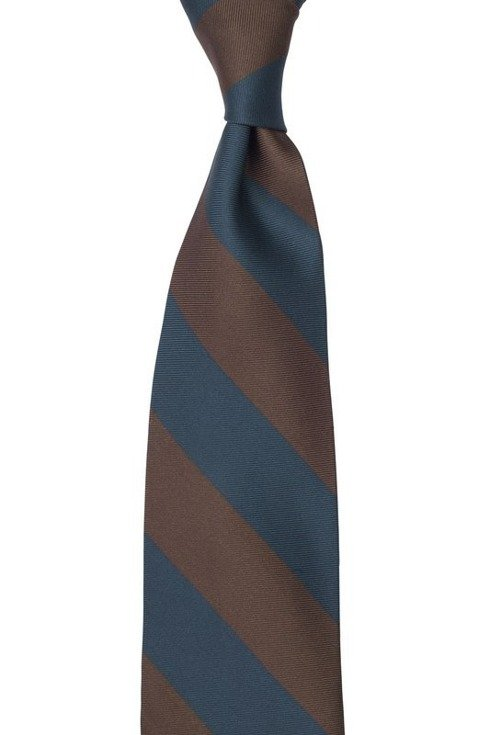 navy and brown regimental silk TIE