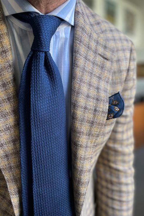 navy grenadine tie (garza grossa)