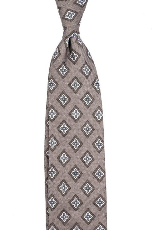 self-tipped printed linen brown TIE
